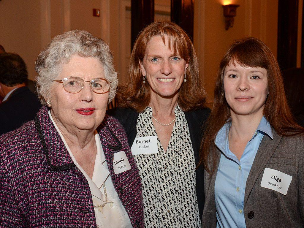 Burnet Tucker named the fellowship she funded to honor her mother-in-law, Lenoir Tucker (left). Olga Belskaya was the student who received Tucker's summer support.