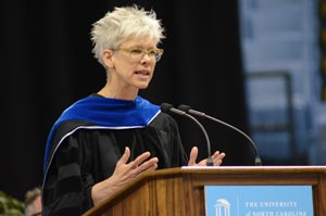 Susan A. Murphy giving the keynote address at the 2015 Doctoral Hooding Ceremony