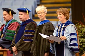 From left to right: Bruce Cairns, chair of the faculty; Lowry Caudill, chair of the Board of Trustees; Susan Murphy, keynote speaker; and Chancellor Carol L. Folt