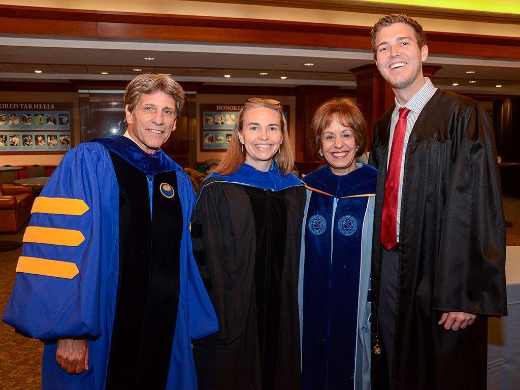 Steve Matson, Graduate School Dean; Samantha Joye, keynote speaker; Chancellor Carol L. Folt; and Dylan Russell, GPSF president