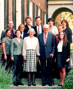 Dr. Thomas and Mrs. Caroline Royster in 1996 with the first dissertation fellows within the Carolina Society