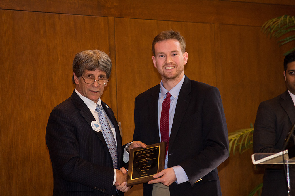 Paul Cornwell received the Dean's Distinguished Dissertation Award within Physical Sciences and Engineering.