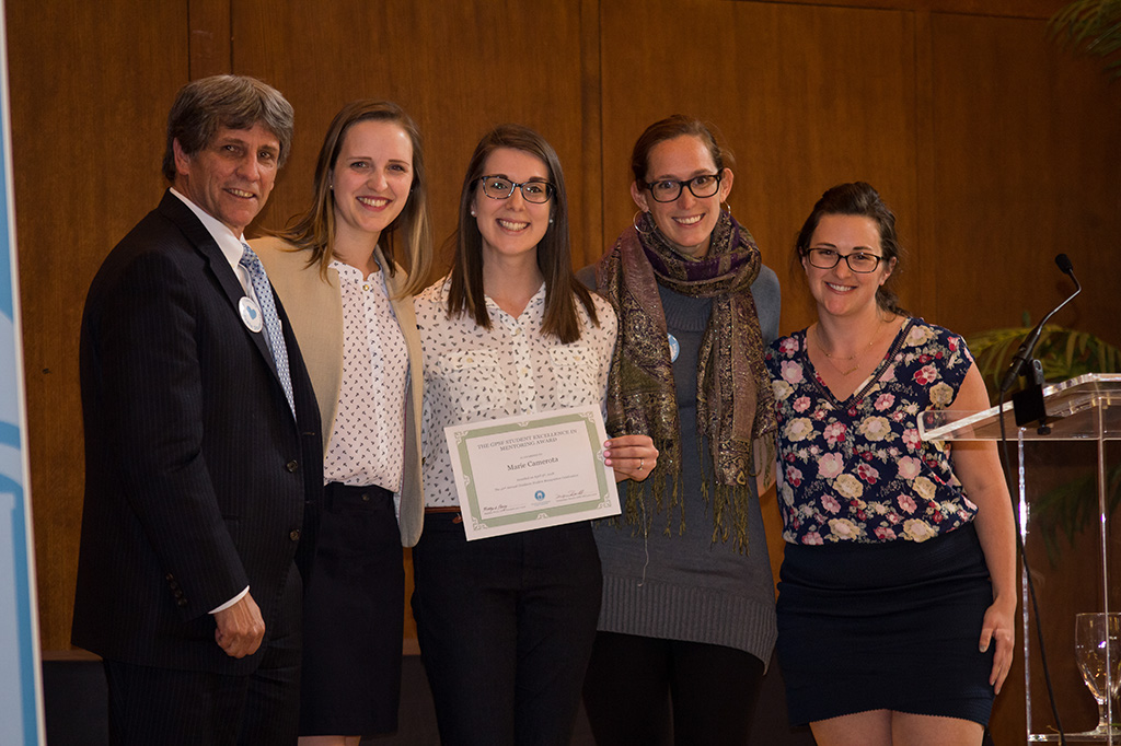Graduate student Marie Camerota was honored for excellence in mentorship.