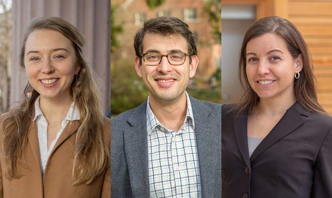 2019 Impact Award winners Charlotte Fryer, Ahmed Rachid El-khattabi, and Dana Pasquale