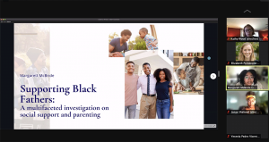 """Slide from """"Diversity and Student Success: Beyond These Walls"""" presentation. Slide shows three images of Black fathers and children smiling and interacting. Text on the slide says, """"Margarett McBride Supporting Black Fathers: A multifaceted investigation on social support and parenting""""."""