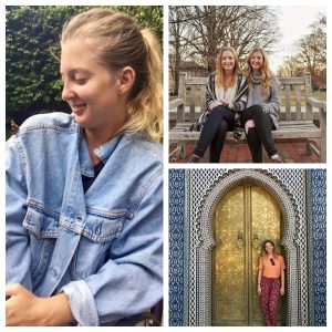 A collage of photos with Sarah Tatum and her twin, MaryAnne Tatum, and butterflies. Butterflies remind MaryAnne of Sarah.