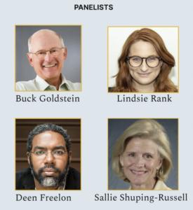 Headshots of panelists: Buck Goldstein, Lindsie Rank, Deen Freelon, and Sallie Shuping-Russell