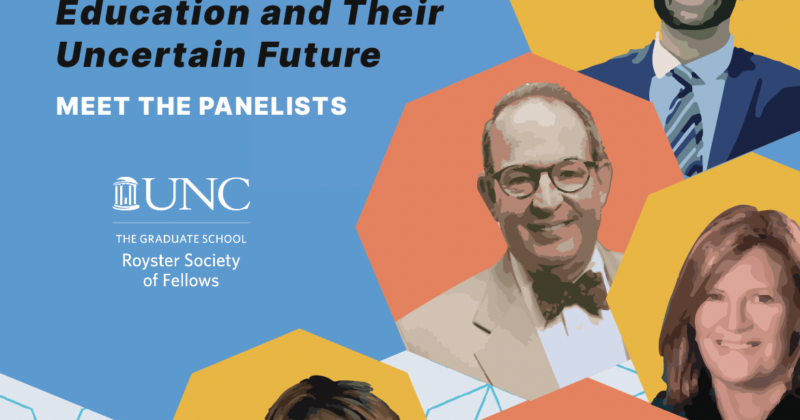Shared Governance and Academic Freedom: The Foundations of Higher Education and Their Uncertain Future, Meet the Panelists, Royster Society of Fellows logo and panelist headshots